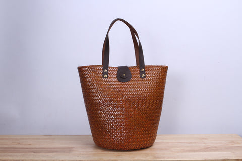 Tall round Wicker Tote bag (Light Brown)