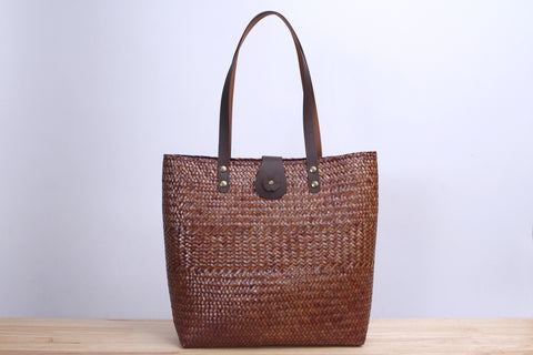 Tall square Wicker Tote bag (Dark brown)