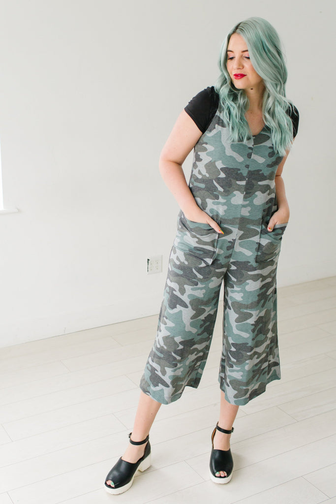 Wide Leg Camo Jumpsuit | Up to 3X!