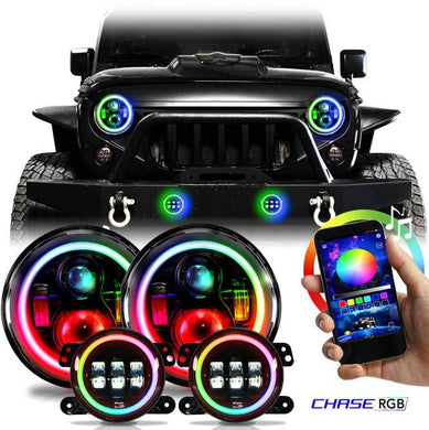 Chasing X2 - RGB Angel Eye Halo CREE LED Plus Turn Signal Headlight/Fog light Combo with DRL for '97-'19 Jeep Wrangler JK, JKU, TJ