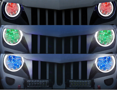 Color Changing Spider Eyes Headlights RGB w/ Angel Halo for '97-'19 Jeep Wrangler JL, JK, JKU, TJ