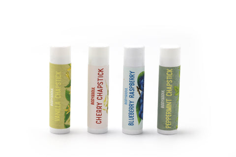 Chapstick Set- Cherry, Blueberry, Peppermint and Vanilla