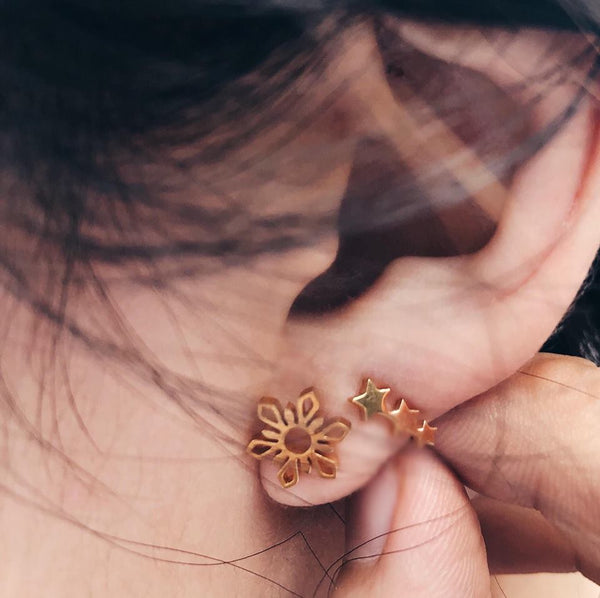 Sun & 3-Star Stud Earrings (Catriona inspired)