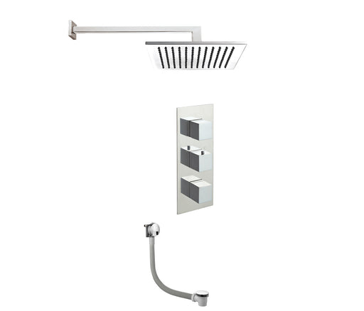 Just Taps Square Thermostatic Shower With Extractable Hand Shower And Bath Filler Tap COM050