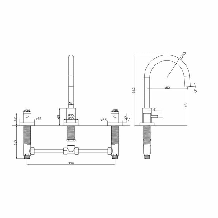 Dimensions of Mayfair Series F 3 Hole Lever Basin Mixer Tap