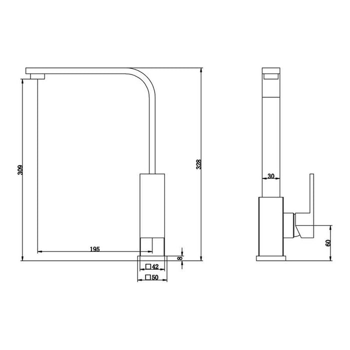 Dimensions of Mayfair Shuffle Chrome Kitchen Mixer Tap