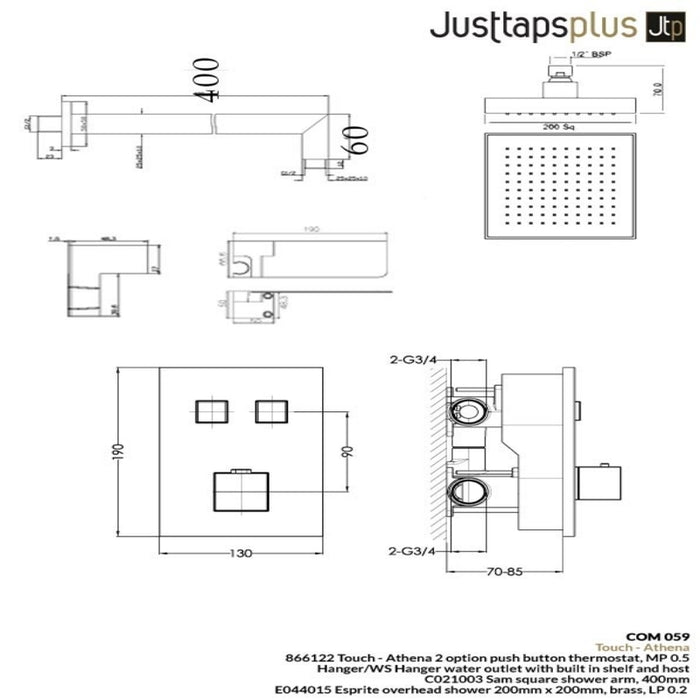 Just Taps Com059 2 Outlet Thermostat with Overhead and Hand Shower Dimensions