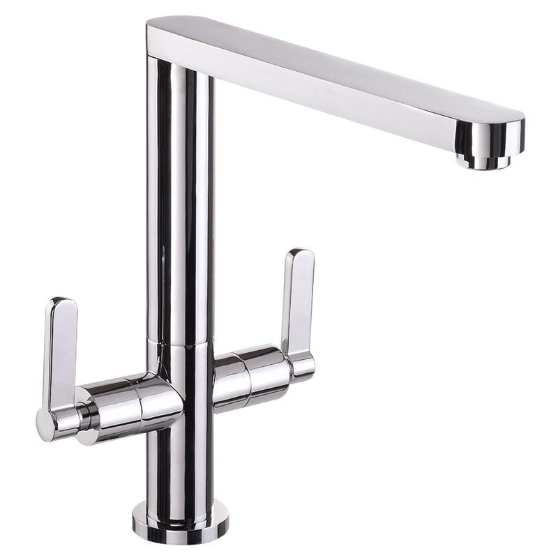 Chrome Dual Lever Rosy Kitchen Tap Front View