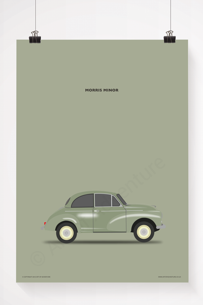 Morris Minor Portrait Green - Art of Adventure