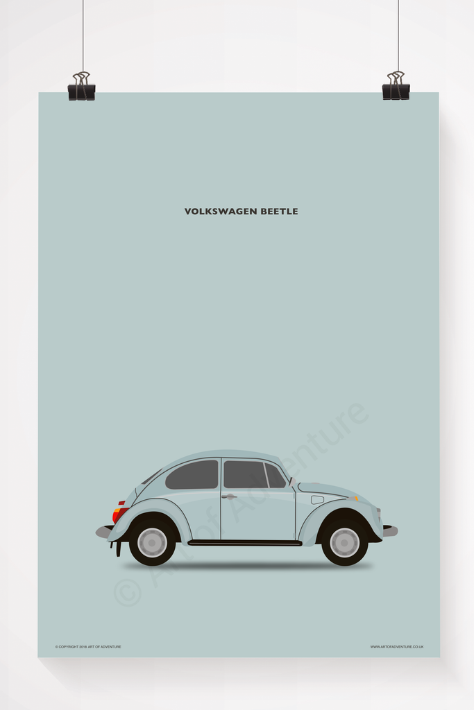Volkswagen Beetle Portrait Blue - Art of Adventure