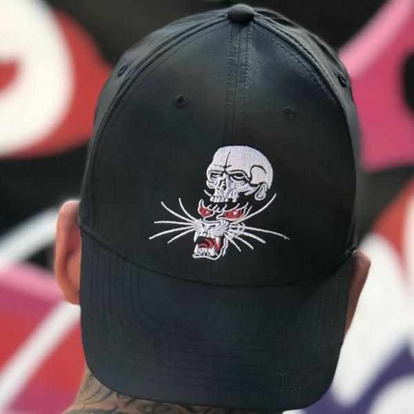 Embroided Panther and Skull Cap by Gabriele Cardosi