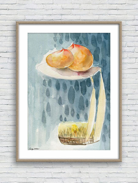 Print Wall Art, Watercolor Print Fruit Peaches, Wall Decor, Abstract Print, Art, Artwork And Prints For Walls, Modern Wall Decor