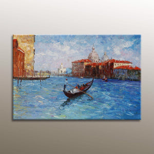 Venice Oil Painting, Palette Knife Oil Painting, Oil Painting Original, Contemporary Painting, Venice Gondola, Oil Painting, Canvas Art