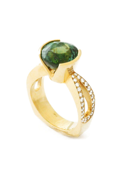 Gold Tourmaline Diamond Ring