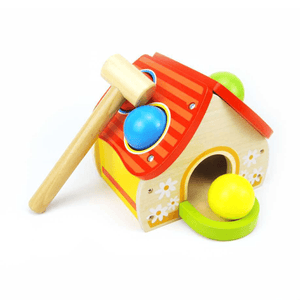 Wooden House Pounding Game Top Bright