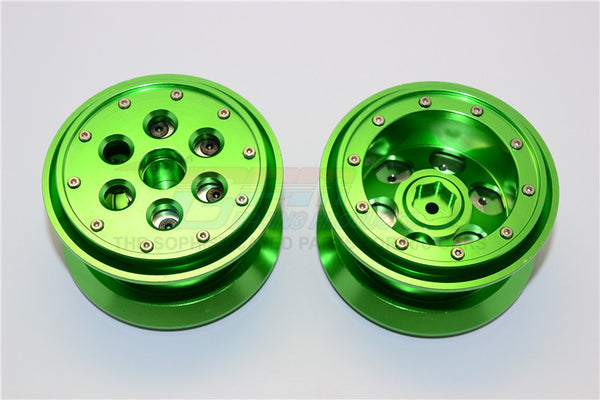 Aluminum Beadlock Weighted Wheels With Weight Holder & Bearings Suitable For All 2.2 Tires - 1Pr Set Green