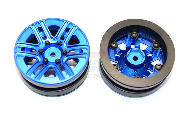 "Aluminum 6 Spokes 1.9"" Wheels With Plastic Wheel Frame - 2Pcs Set Blue"