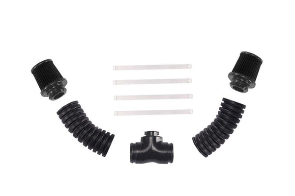 V8 6.2L Ls3 Engine Intake Air Filter Pipe Double Pipe For Traxxas TRX-4 Trail Defender Crawler (Installed With GPM Racing Item#TRX4ZSP56) - 9Pc Set Black
