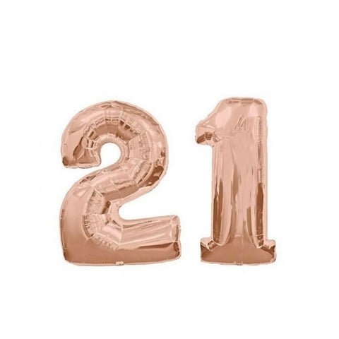 "21 Number Balloons Rose Gold 100cm (40"") - This Little Party"