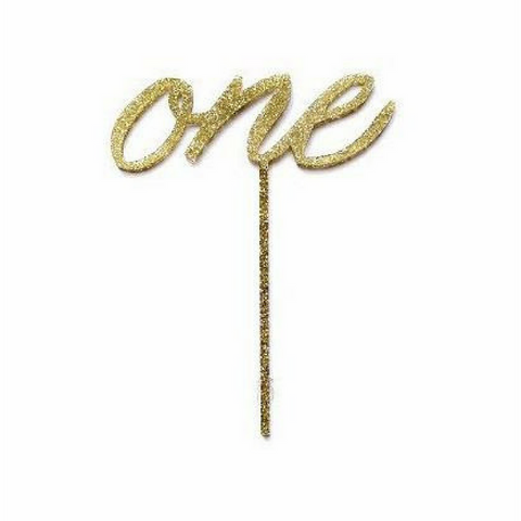 One 1st Birthday Gold Glitter Acrylic Cake Topper - This Little Party