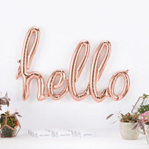 Hello Rose Gold Script Balloon - This Little Party