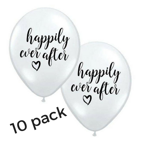 Happily Ever After Black & White Balloons 10pk - This Little Party