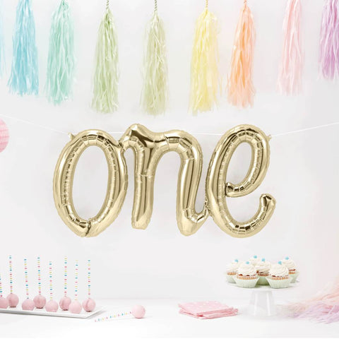 White Gold One Script Balloon - This Little Party