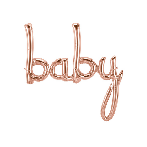 Rose Gold Baby Shower Script Balloon - This Little Party