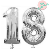 "18 Number Balloons Silver 100cm (40"") - This Little Party"