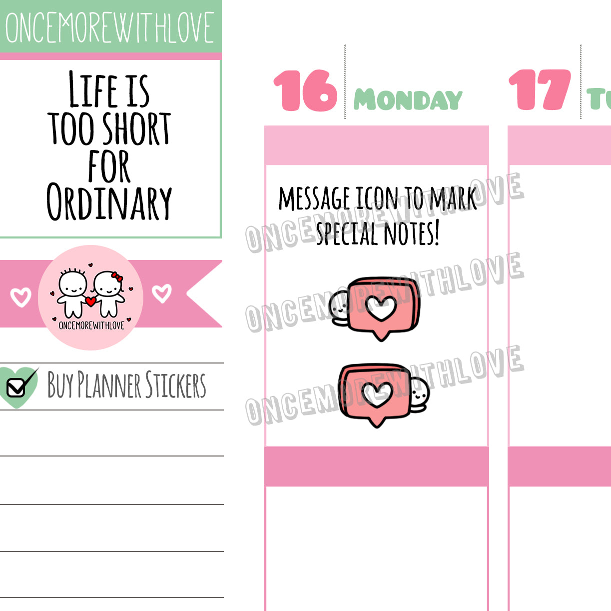 M545 - Message Bubble Heart Planner Stickers