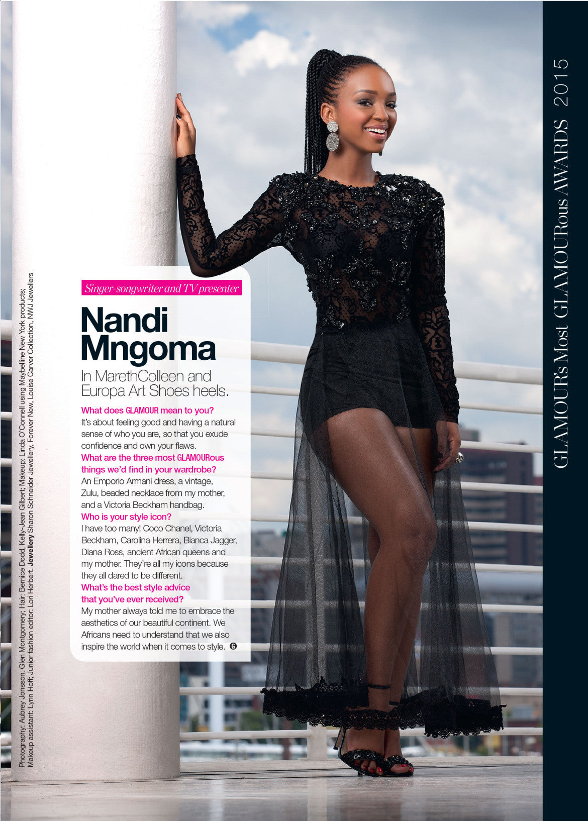 Our hand beaded Noir Dress features in the latest Glamour Magazine
