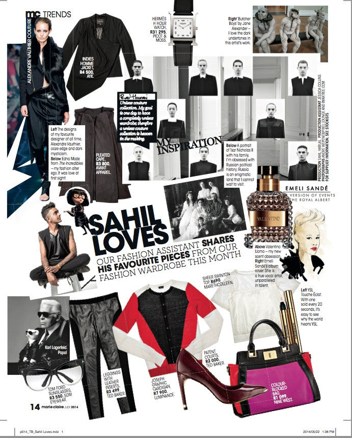 Media Post: Sheer Swinton Top Featured in the July Issue of Marie Claire Magazine