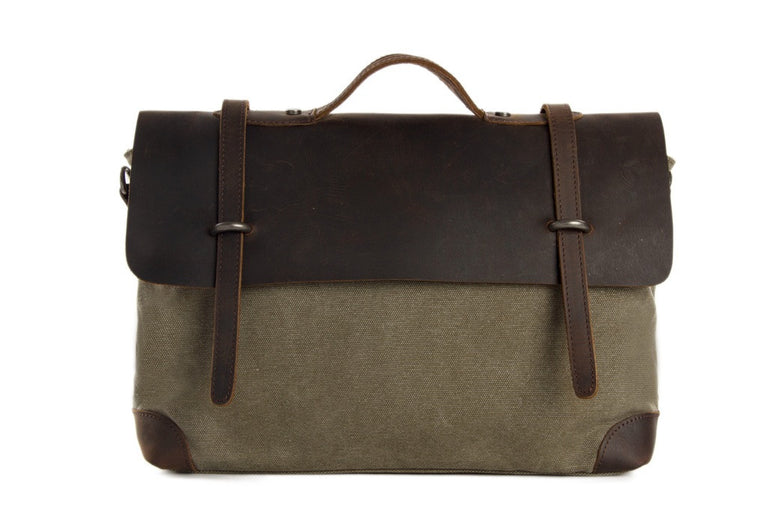 Leather Trimmed Waxed Canvas Briefcase