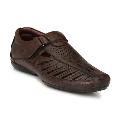 Men Brown Laser Perforated & Grooved Roman Sandals 9006