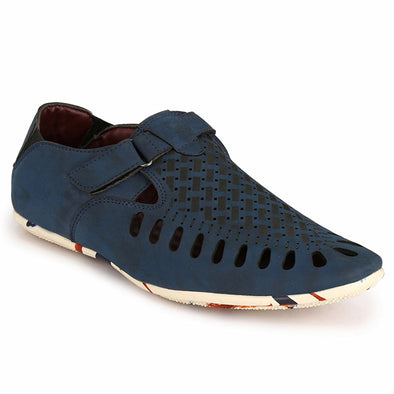 Men Blue Laser Perforated & Grooved Roman Sandals 1405