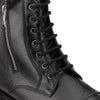 Men Black Genuine Leather Chain & Lace up Biker Boots 1558