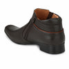 mens brown leather look formal high ankle shoes with chain