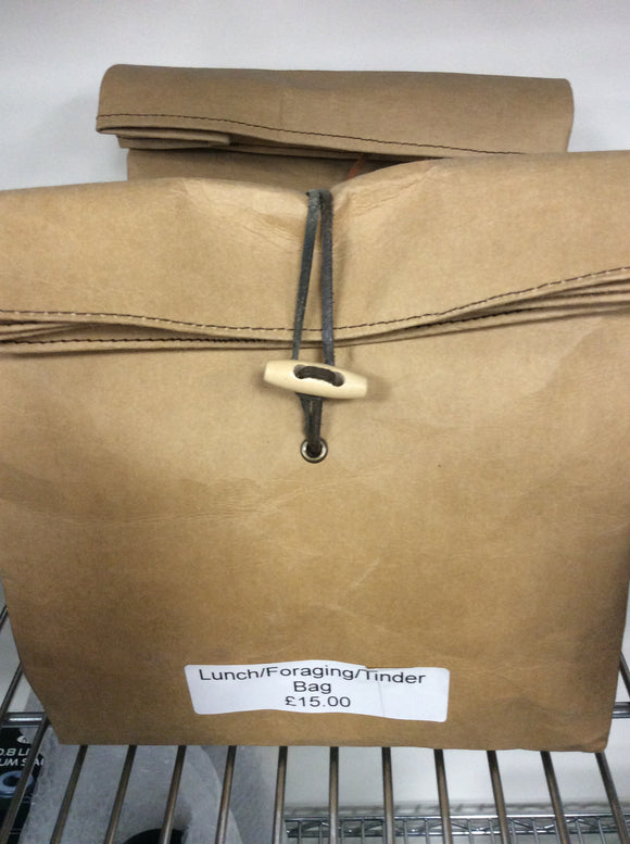 Handmade leather lunch bag styled on retro brown paper bag