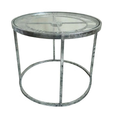 Antique Silver Metal Round Clock Side Table