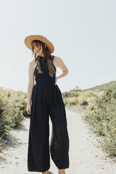 """Devanee"" Jumpsuit, Black Polka Dots"