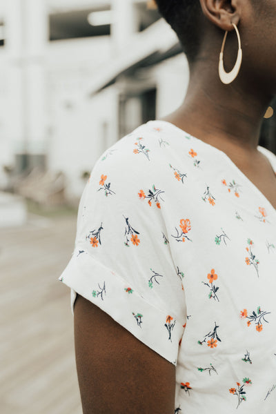 """Charlie"" Top, Ivory Floral"
