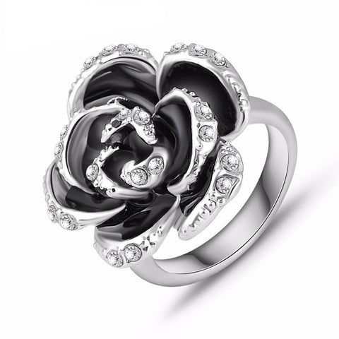 Black Rose Platinum Plated Crystal Ring - Embrace Luxury