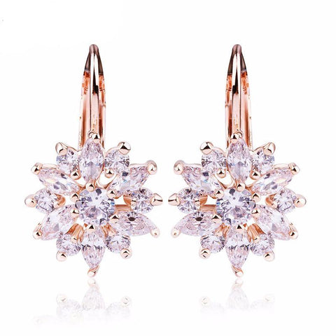 Champagne Gold Flower Stud Women Earrings - Embrace Luxury