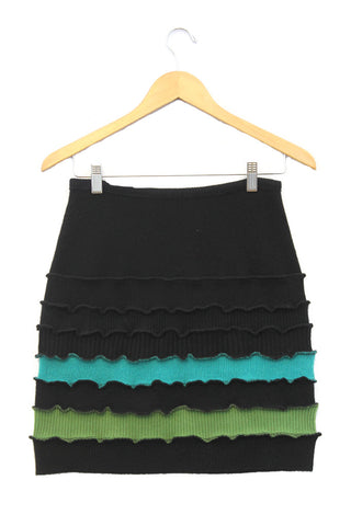 Banded Mini Skirt Black w/ Aqua & Spring Green - Small