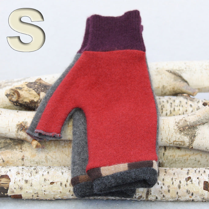 Fingerless Mitten MS8437 Red & Grey w/ Brown - Small