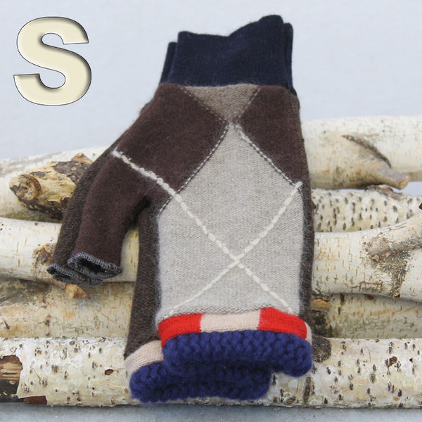 Fingerless Mitten MS8481 Brown Argyle w/ Red & Blue - Small