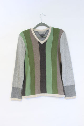 Stripe Sweater Green w/ Grey - Small