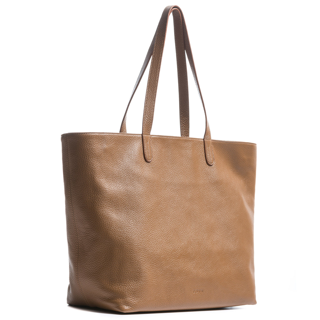 Coyn Brown Leather Zipper Tote, Made in Italy