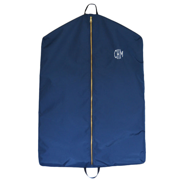 Navy garment bag with monogram