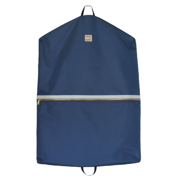Navy silver garment bag